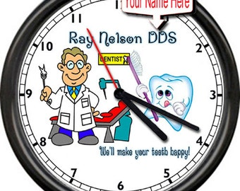 Personalized Your Name Dentist Dental Happy Tooth Teeth Gift DDS Male Or Female Or Hygienist Sign Wall Clock