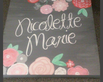 Wooden Rustic Name sign girls room flowers nursery wall decor