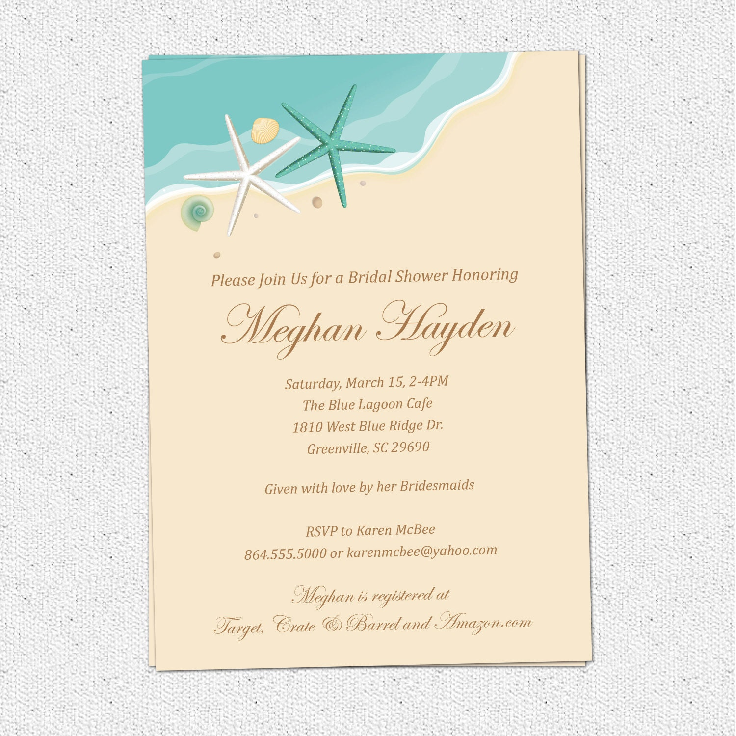 Beach invitation printable bridal shower birthday sand sea for Bridal shower gifts for the bride who has everything