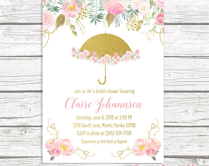 Bridal Shower Invitation, Pink Umbrella Bridal Shower Invite, Bridal Shower Tea Invitation, Pink and Gold Floral Bridal Shower Invitation