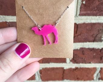 Acrylic Cutout Camel Necklace