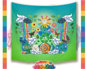 Kawaii Universe - Cute World Peace Showers Designer Backdrop / Table Cloth