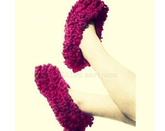 CROCHET SLIPPERS PATTERN Vintage 70s Crochet Slipper Vintage Pattern Crochet Loop Stitch Pattern Crochet Loopstitch pattern