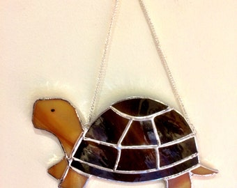 Stained glass tortoise, tortoise ornament, turtle ornament