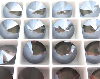 4 Dark Gray Swarovski  Rivoli Stone 1122 12mm