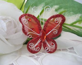 RED Nylon Butterflies for Baby Shower, Wedding Decor, Baptism Favor, Flower Arrangement, Table Scatters, Christening Favor, 2 inches, 12 pcs