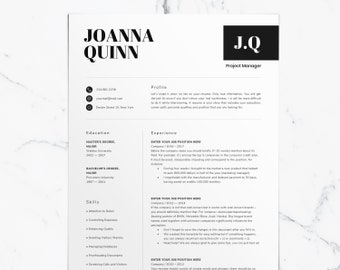 Resume template Instant download for Word - Professional CV template - Modern, clean, functional design for mens and womens + cover letter