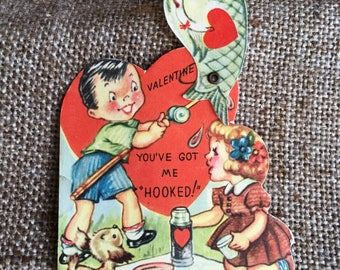 NOS Vintage USA Litho Printed Mechanical Valentine Card, Boy and Girl Fishing You've Got Me Hooked, Fish Moves, with Original Envelope