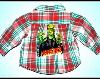 Boys Rockabilly Frankenstein Plaid Shirt....size New Born