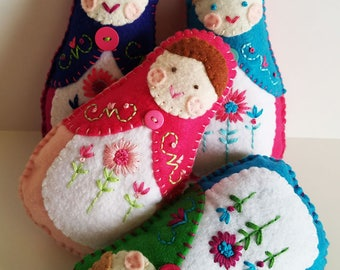 Felt Matryoshka Doll - Custom Embroidered Doll - Handsewn Hand Stitched - Colorful - Custom - OOAK - Made to Order - You Choose Colors