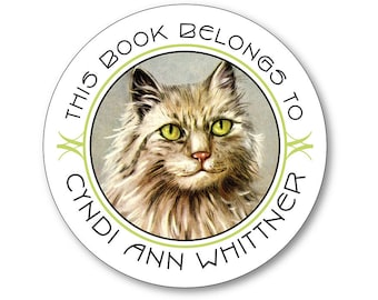 Personalized Bookplates - Vintage Green-Eyed Cat - Stocking Stuffer