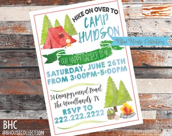 Camping Birthday Invite. Camping Party. Outdoor Birthday Party. Outdoor party. Camping invitation. outdoor invitation. Printed or digital