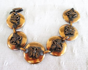 Copper Link Bracelet Bees Butterflies Vintage Jewelry Gift Insects Bugs Mother's Day Birthday