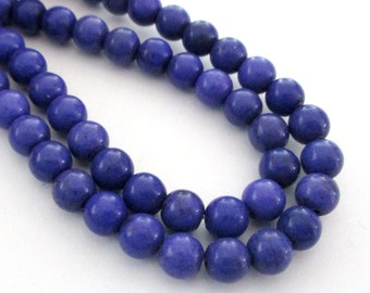 "Purple Howlite Round Beads - Smooth Turquoise Gemstone Beads - Round Ball Drilled Beads - 6mm - 16"" Strand - DIY Jewelry Mala Bracelets"