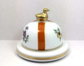 Porcelain butter made in Italy hand decorated with flowers and duck cobalt gold CM Ø 9 x 8 H