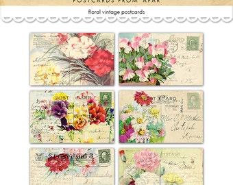 Shabby chic floral postcards / vintage postcards / digital collage sheet / printable postcards / instant download / flowers / ephemera