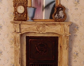 1:24 scale miniature dollhouse furniture kit closed French fireplace