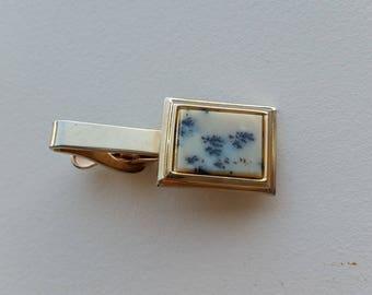 Moss Agate Tie Clip