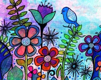 The Gift  Print  garden flowers bird