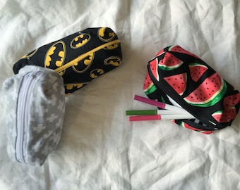 Pencil Case - Makeup Bag - Zipper Pouch - Watermelon - Batman -Crosses