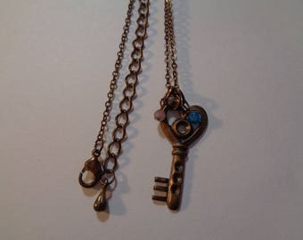 Vintage Light Weight Key Stone Necklace