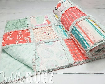 Pastel baby quilt - crib quilt - baby keepsake - minky quilt - nursery bedding - baby shower gift - baby girl quilt - mint and pink quilt