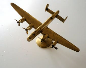 Brass Lancaster Bomber Aeroplane Desk Ornament Sculpture