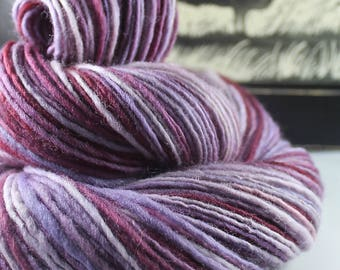 Handspun Yarn Gently Thick and Thin DK Single Finn Wool 'Boysenberry'