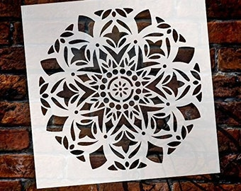 Mandala - Snow - Complete Stencil by StudioR12   Reusable Mylar Template   Use to Paint Wood Signs - Pallets - Pillows - Wall Art - Floor...