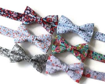 Boys Bow Ties~Boys Bow Tie~Boys Floral Bow Ties~Cotton Bow Tie~Navy Bow Tie~Church Tie~Flower Bow Tie~Wedding~Ring Bearer~Gift~Coral~Gray