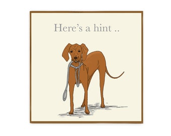 Funny Vizsla greeting card with envelope blank inside for dog lovers