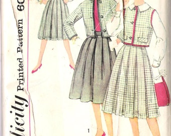 "Vintage 1959 Simplicity 3081 Junior Jacket Skirt and Blouse Sewing Pattern Junior Size 15 Bust 35"" UNCUT"