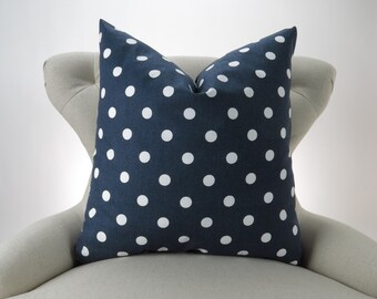 Navy and White Polka Dot Pillow Cover, Euro Sham, Big Pillow, Floor Pillow, Blue White Dots by Premier Prints 22x22 24x24 26x26 28x28 inch