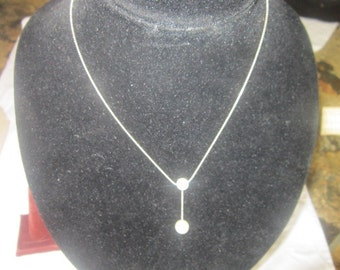 Vintage Silvertone Chain Necklace with 2 Faux Pearls