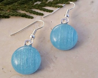 Earrings, Fused Glass Dangle Earrings, Turquoise Glass with Dichroic Accents 16125