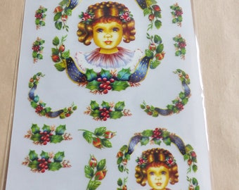 rub - on Holly vintage holly decal transfer scratch stick girl and Doll