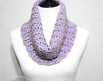 Purple Crochet Scarf, Soft Crochet Cowl, Lavender Infinity Scarf, Light Purple Neck Warmer - Light Pastel Purple