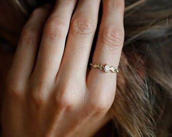 Diamond Engagement Ring, Pear Engagement Ring, Pear Diamond Ring, Branch Diamond Ring, Diamond Branch Jewelry, Nature Ring Engagement, Ring
