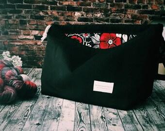 Drawstring Project Bag, Large Project Bag, Knitting Bag, Yarn Bag, Enamel Pin Display Project Tote - Road Trip Bag