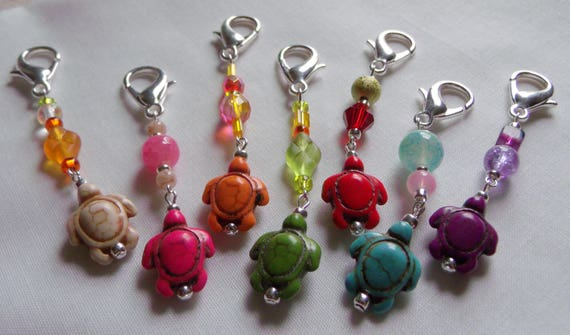 Bright Turtle zipper pulls - back pack fashion - College student gift - assorted Howlite turtles -  planner charm - Back to school gift