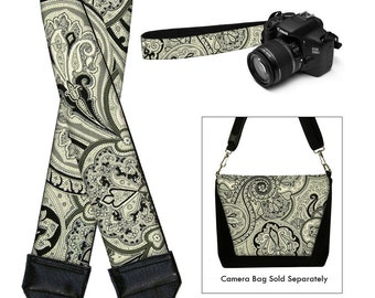 Dslr Camera Strap SLR Digital Camera Padded Strap Nikon Canon - Vintage Paisley gray black RTS