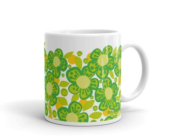 Coffee Mug Green Flower drinkware kitchen dining