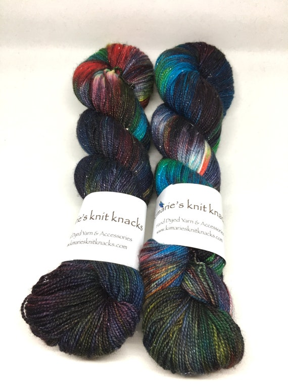 Hand Dyed Sparkle Yarn_Fingering Weight_100 grams - It Was a Dark and Stormy Night