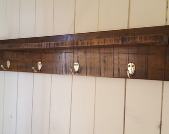 Rustic Timber Coat Rack with Shelf