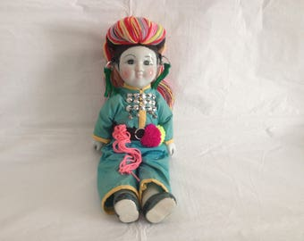 Asian Chinese Porcelain and Cloth Doll