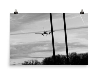 Coming in for a Landing Black and White Photo 24x36, 12x16