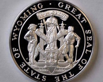 """1976 Franklin Mint Sterling State Proof 1 1/2"""" Bicentennial Medal Wyoming 1oz"""