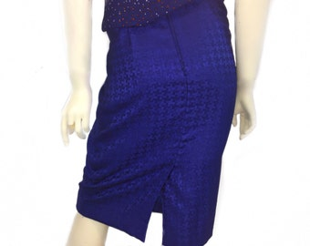 Vintage houndstooth Blue Skirt Small