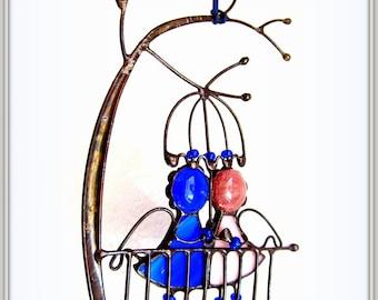 Stained Glass Angels under Umbrella - Tiffany technique suspender from Ukraine
