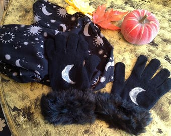 Silver Moon, hand painted knit gloves, fur trim, crescent moon, witch, witchy, moon goddess, night, Samhain, gypsy, boho, wearable art